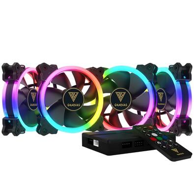 Kit Cooler Fan Gamdias Dual Ring com 4 Unidades, RGB, 12cm - AEOLUS M1-1204R