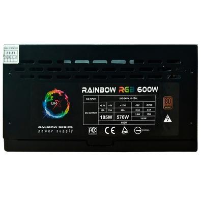 Fonte BR One BRX Rainbow, 550W, 80 Plus Bronze, com Cabo - BS-P550W