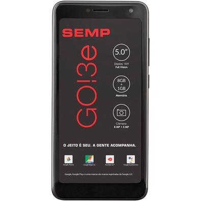 Smartphone Semp GO 3e, 8GB, 8MP, Tela 5´, Preto + Capa e Película - GO3E-PTOP
