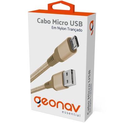 Cabo Micro USB, 1m, Geonav Essential, Nylon Trançado, Dourado - ESMIGO