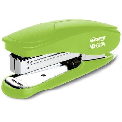 Grampeador Plástico Maxprint MX-G20A, 26/6 e 24/6, 20 folhas, com Extrator de Grampos, Verde - 715222