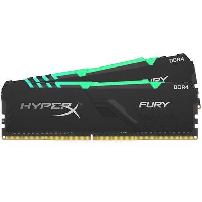 Memória HyperX Fury RGB, 16GB (2x8GB), 2400MHz, DDR4, CL15, Preto - HX424C15FB3AK2/16