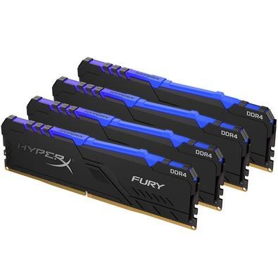 Memória HyperX Fury RGB, 64GB (4x16GB), 2666MHz, DDR4, CL16, Preto - HX426C16FB3AK4/64