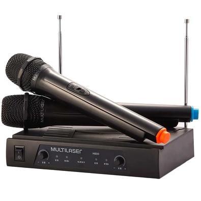 Kit de Microfone sem Fio Multilaser, Alcance de até 8m + Receiver, Preto - SP328