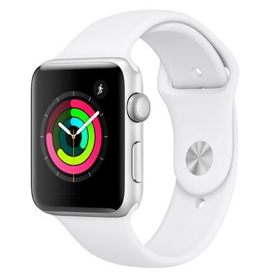 Apple Watch Series 3, GPS, 42mm, Prata, Pulseira Branca - MTF22BZ/A