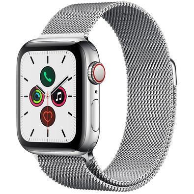 Apple Watch Series 5 Cellular + GPS, 40mm, Prata, Pulseira Prata - MWX52BZ/A