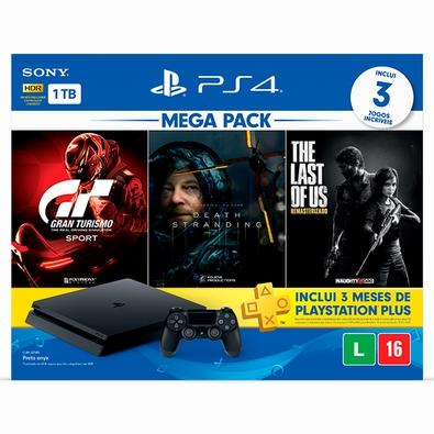 Console Sony PlayStation 4 Hits Bundle Mega Pack 10, 1TB - Gran Turismo Sport + Death Stranding + The Last of Us Remasterizado - CUH-2214B