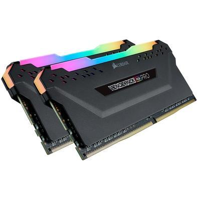 Memória Corsair Vengeance RGB Pro 16GB (2x8GB) 3466MHz DDR4 C16 Black - CMW16GX4M2C3466C16