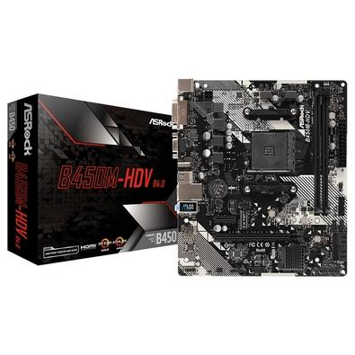 Placa-Mãe ASRock B450M-HDV R4.0, AMD AM4, Micro ATX, DDR4