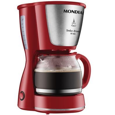 Cafeteira Elétrica Mondial Dolce Arome, 18 Xícaras, 550W, 220V, Inox/Vermelho - C-35-18X