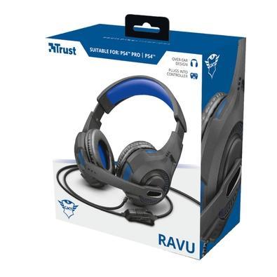 Headset Gamer Trust GXT 307 Ravu para PS4, Drivers 40mm, Preto/Azul - 23250