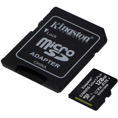 Cartão de Memória Kingston Canvas Select Plus MicroSD 128GB Classe 10 com Adaptador, para Câmeras Automáticas/Dispositivos Android - SDCS2/128GB