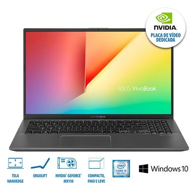 Notebook Asus VivoBook 15 Intel Core i5-8265U, 8GB, 1TB, NVIDIA MX110 2GB, Windows 10 Home, 15.6´, Cinza Escuro - X512FB-BR468T