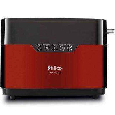Torradeira Philco Touch Inox Red, 7 Níveis de Tostagem, 110V, Vermelha/Inox - 56201040