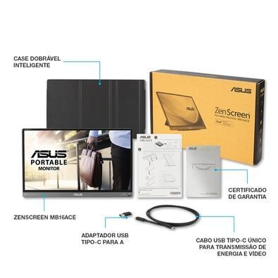Monitor Portátil Asus ZenScreen 15.6´, Full HD, IPS, USB Type-C, Cinza Escuro - MB16ACE