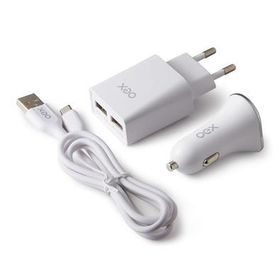 Kit 3 em 1 Oex Micro USB - Carregador Veicular, 2 USB + Cabo Micro USB + Carregador de Tomada, 2 USB, Branco - KV301