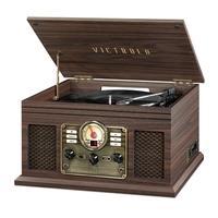 Toca Discos Victrola 7 em 1, Bluetooth, CD, Fita, FM, Marrom Expresso - VTA-204B-ESP