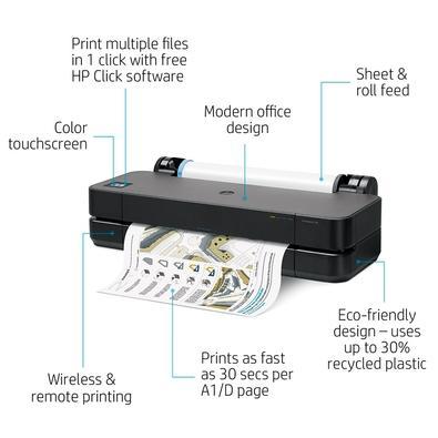 Impressora HP DesignJet T250, Jato de Tinta Térmico, Colorida, A3, Bivolt - 5HB06A#B1K