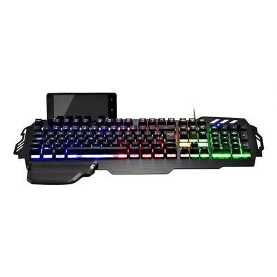 Teclado Gamer Warrior Zuberi, Superfície Metal, LED - TC210