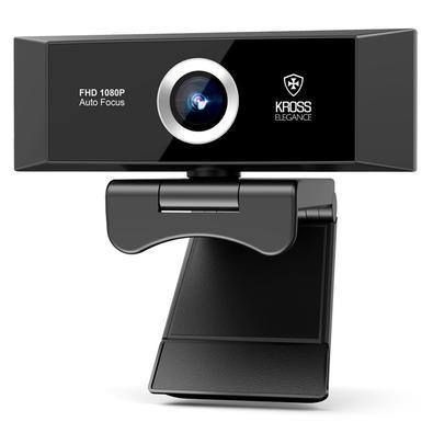 Webcam Kross, Full HD 1080P, Foco Automático, tripé ajustável - KE-WBA1080P