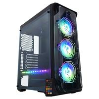 Gabinete Gamer Dark Trooper Polygon, 3x Fan ARGB, Lateral em Acrílico, Preto - CG-03B1