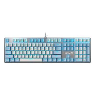 Teclado Mecânico Gamer Gamdias Hermes M5, LED Ice Blue, Switch Blue, Branco e Azul - HERMES M5 WB (US/BLUE)