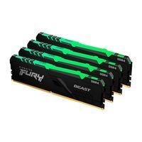 Memória Kingston Fury Beast, RGB, 32GB (4x8GB), 3600MHz, DDR4, CL17, Preto - KF436C17BBAK4/32