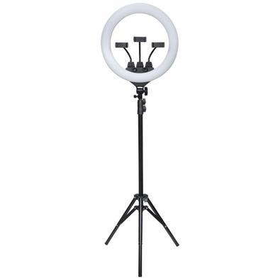 Kit Ring Light LED Vinik 46cm com Tripé e Suporte Para 3 Celulares, 3 Tipos de Iluminação, USB - RL46
