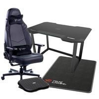 Cadeira Gamer Husky Gaming Avalanche All Black 900 + Mesa Gamer Fortrek Preta + Tapete Gamer Trust GXT + Apoio de pé Husky