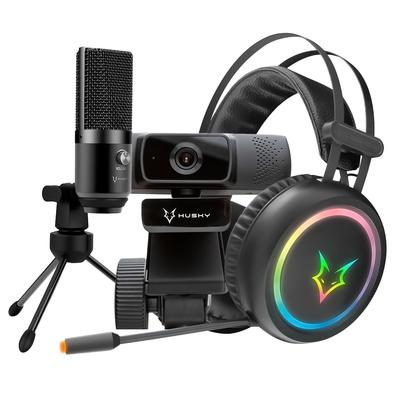 Kit Streamer Headset Gamer Husky Gaming Polar + Webcam Husky Storm + Microfone Condensador USB Husky Howl