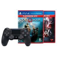 Controle Sony Dualshock 4 PS4, Sem Fio, Preto + Jogo God of War Hits PS4 + Jogo Nioh Hits PS4