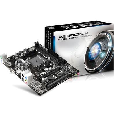 Placa-Mãe ASRock p/ AMD FM2+ mATX FM2A55M-VG3+ D-Sub, 4 x SATA2, 8 x USB 2.0