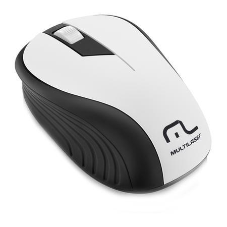 Mouse Sem Fio Multilaser 1200DPI 2.4Ghz Preto e Branco - MO216
