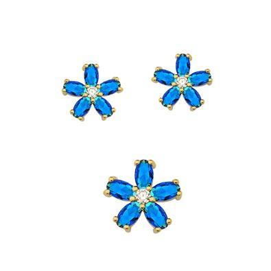 Conjunto de Brincos e Pingente Floral Azul Zafira - CJMT037B