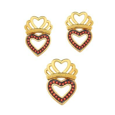 Conjunto de Brincos e Pingente Coroa Coração com Micro Zircônias Champanhe - CJMT081
