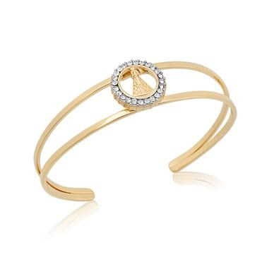 Bracelete Nossa Senhora com Strass e Ouro Branco - BC0481