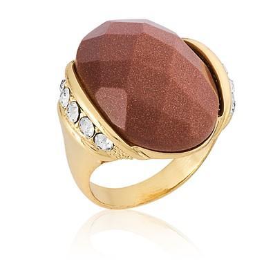 Anel Oval Pedra Natural Gold Stone com Micro Zircônias Tamanho 18 - ANZ0552