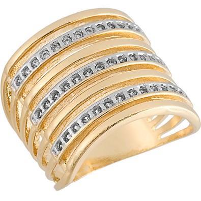 Anel Dourado com Zircônias Tamanho 24  - AN700230F