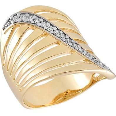 Anel Dourado com Zircônias Tamanho 14 - AN700240F