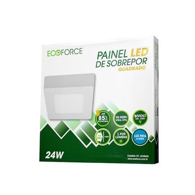 Painel Ecoforce LED Quadrado 100-240V (Bivolt) 24W 6500K Sobrepor Alumínio 17138