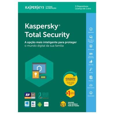 Kaspersky Antivírus Total Security 2018 Multidispositivos 3 PCs - Digital para Download