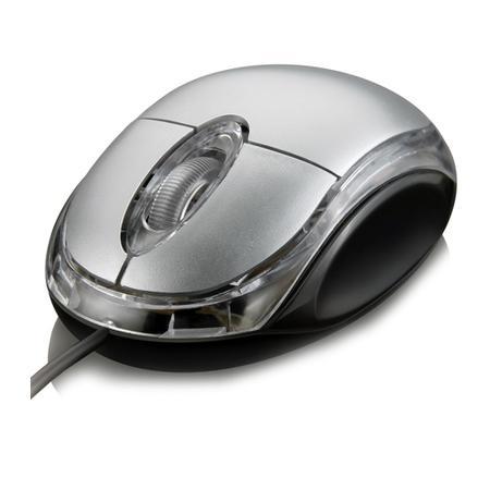 Mouse Multilaser USB Classic Preto e Prata - MO006