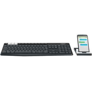 Teclado Sem Fio Logitech K375s, Bluetooth, Multi-Device, Unifying, ABNT2, Cinza + Suporte Universal