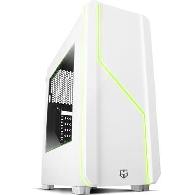 Gabinete NOX HUMMER  LED com 7 Cores Lateral de Acrílico Branco NXHUMMERMCW