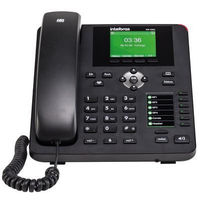 Telefone IP Intelbras c/ Fio 4 Contas SIP Interface Gigabit PoE TIP-435G