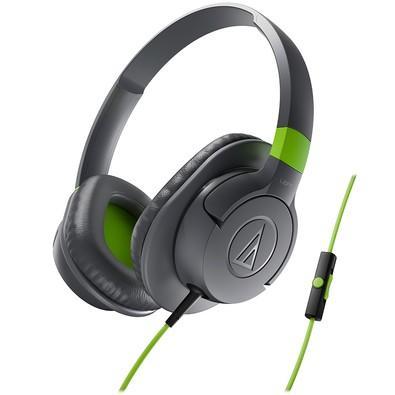 Headphone Audio-Technica com Microfone Cinza e Verde SonicFuel - ATH-AX1iSGY