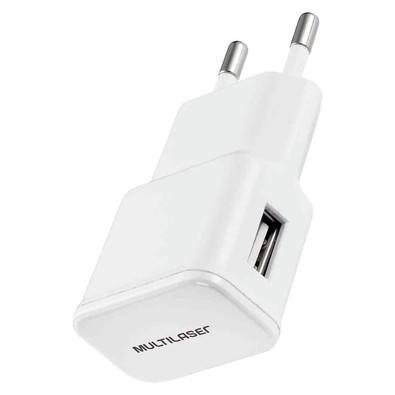 Carregador de Parede Multilaser, 1 Porta USB, 5V 2A, Branco - CB105