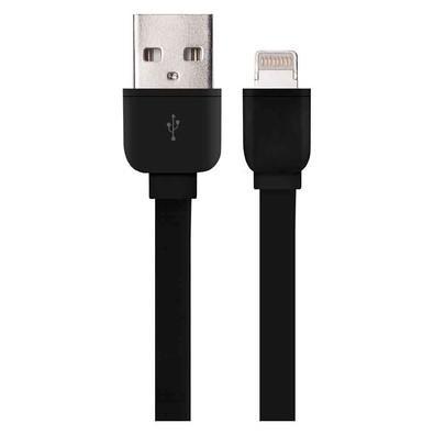 Cabo USB Flat X Lightning para Iphone Multilaser, 1 metro, Preto - WI327