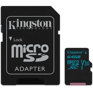 Cartão de Memória Kingston Canvas Go! MicroSD 64GB Classe 10 com Adaptador - SDCG2/64GB