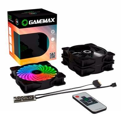 Kit Cooler Fan Gamemax 21 LED com 3 Unidades RGB e Controle Remoto, 12cm - CL300